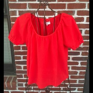 MADEWELL TEXTURE & THREAD PEASANT TOP RED-SIZE- M